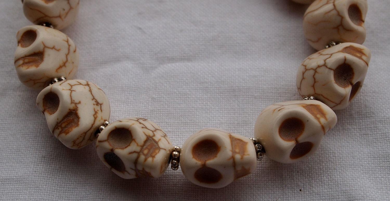 White Magnesite Skull Bracelet