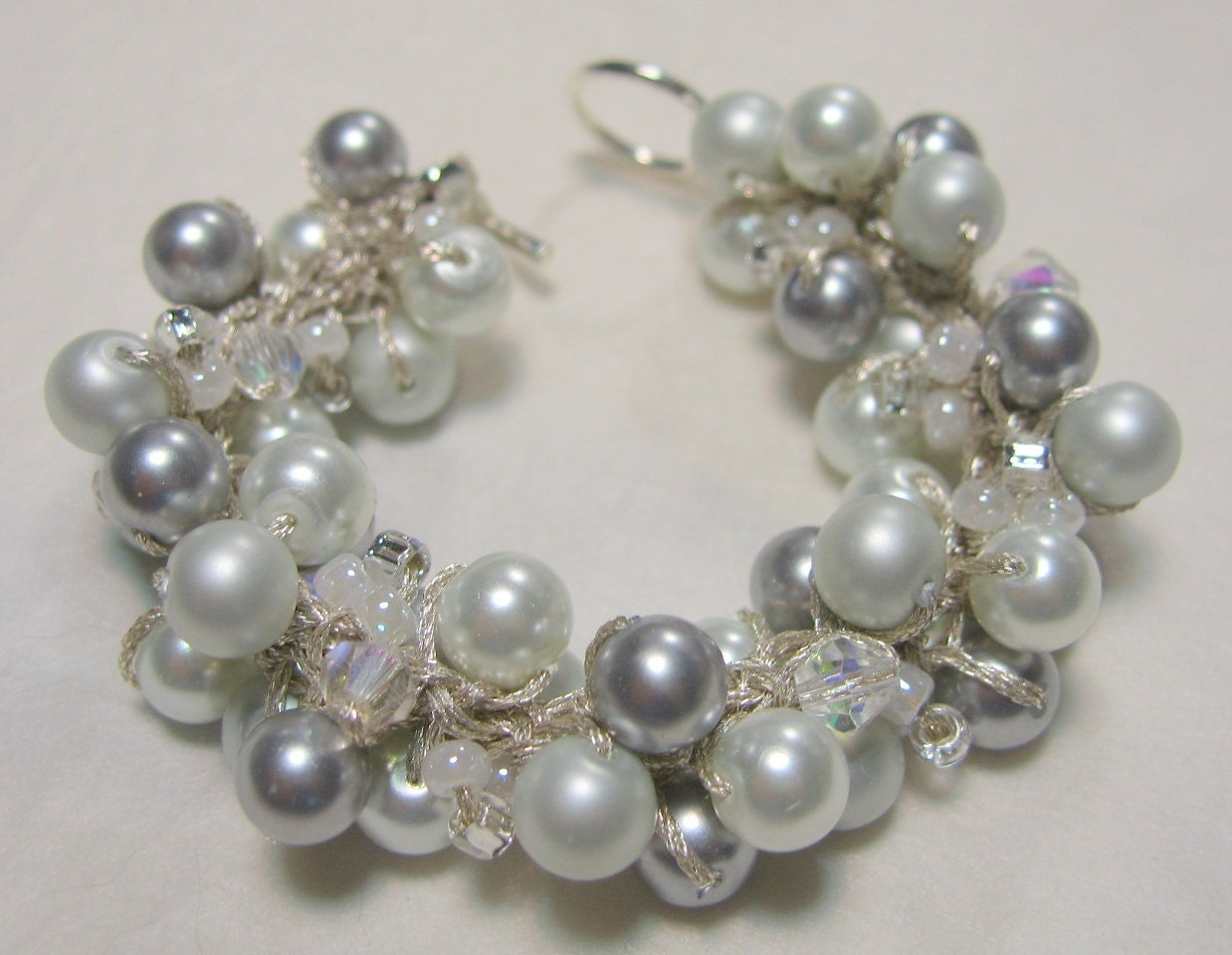 Wedding Bracelet - Silver Moon Snow White, Satin Silver Grey Pearl Cluster - Unique Hand Knit Jewerly