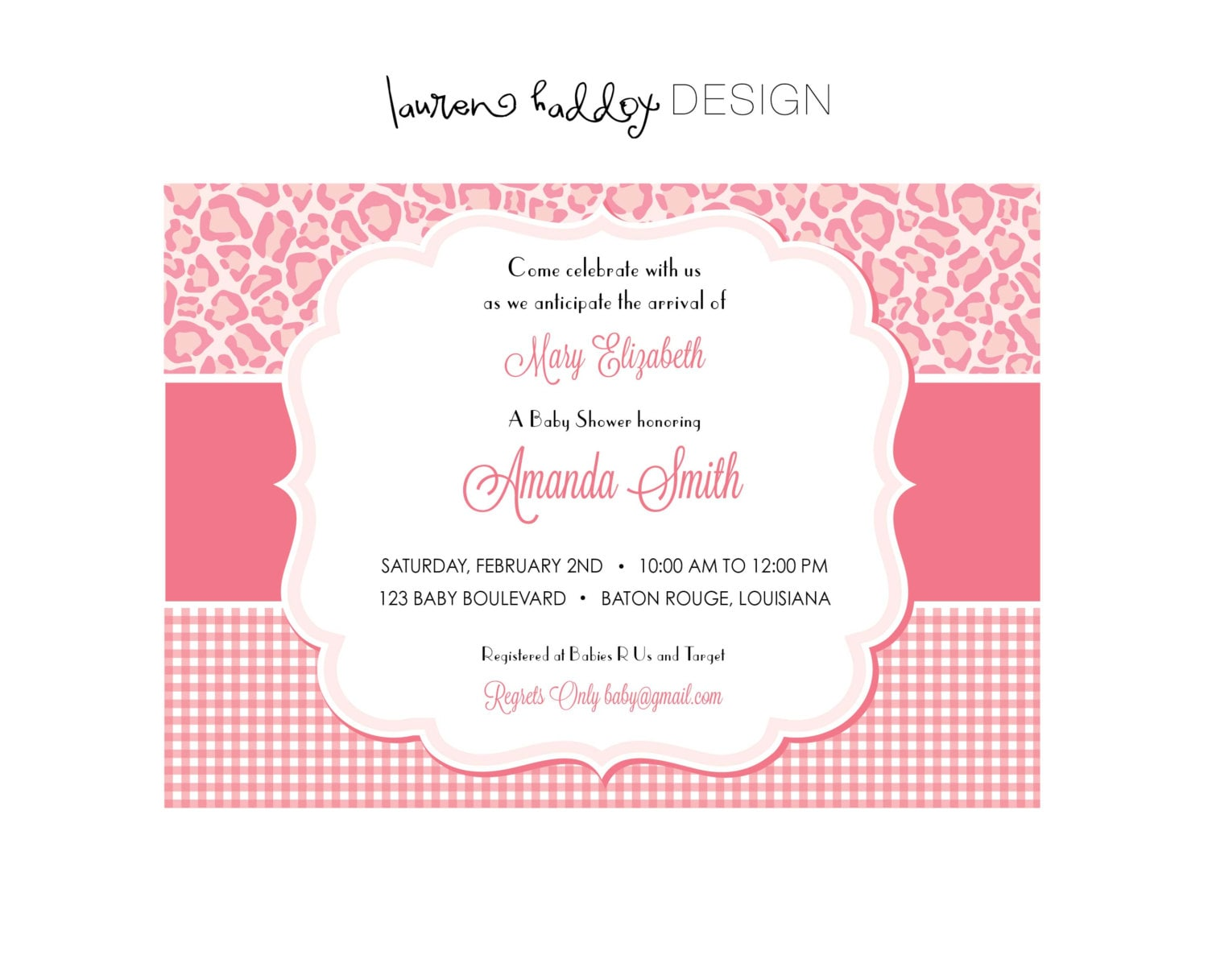 items similar to diy baby shower invitation pink leopard on etsy
