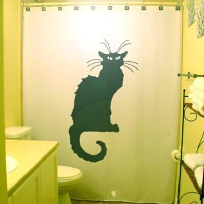 Paris Black Cat Shower Curtain Chat Noir by CustomShowerCurtains