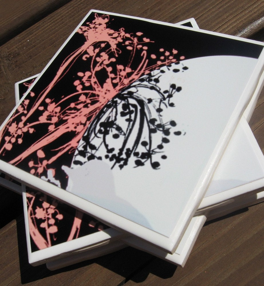 pink and black flower coasters (set of 4)