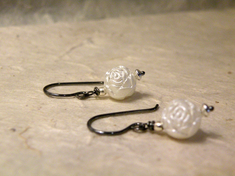 Misty Rose    -  Carved White Rosebud Oxidized Sterling Silver Earrings