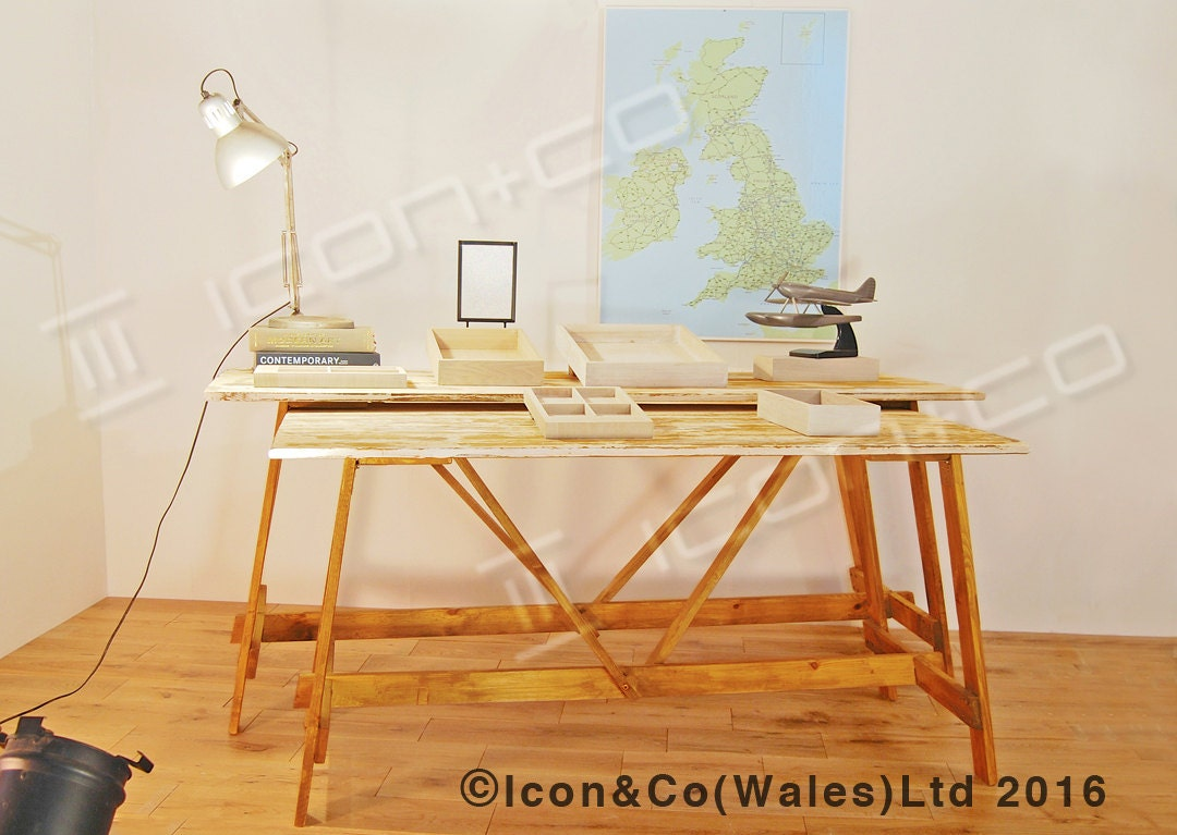 Folding Trestle Table Urban Vintage Kitchen Dining Home Office Fold Down Desk Bench Wedding Garden Party 4 or 6 seater Garden Furniture