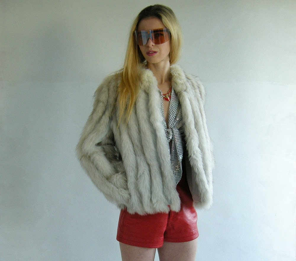 Foxy Vintage 80s Fox Fur and Leather Jacket S M by empressjade