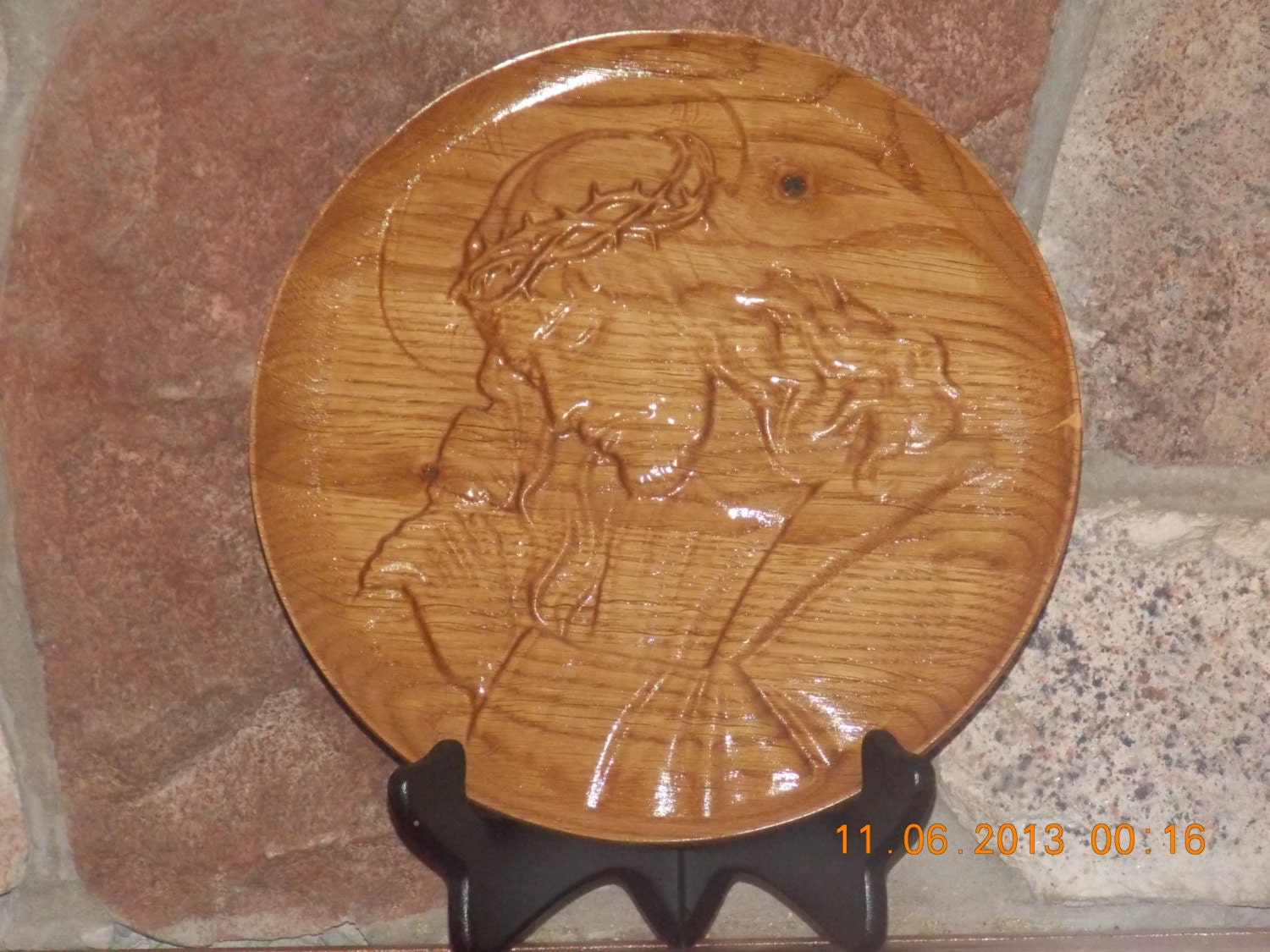 Jesus wall plate relief carving hanging by thewoodgraingallery