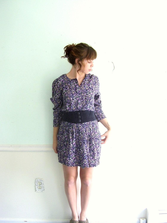 Plumsock Tearoom 80s LS Ditsy Floral Printed Mini Dress S/M