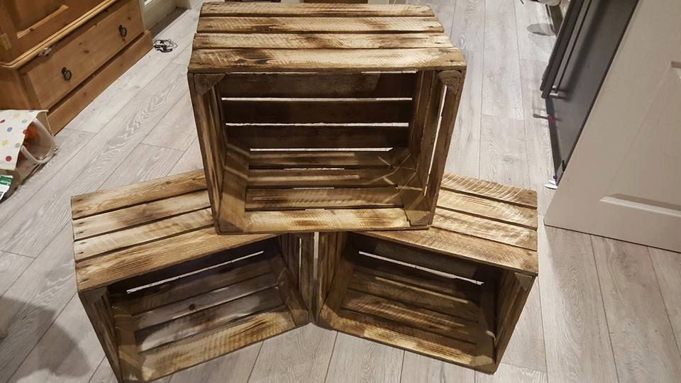 3 x Burntwood Vintage Rustic European Wooden Apple Crates ideal storage boxes box display crate bookshelf idea