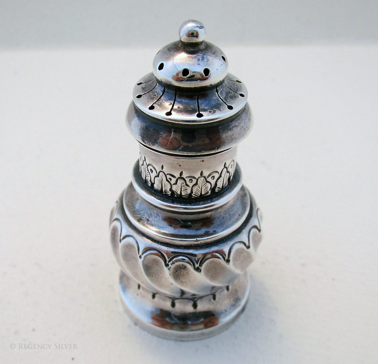 Victorian pounce pot 19thcentury antique solid sterling silver used for inkwell tray by Henry Charles Freeman