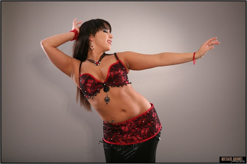 red and black lace belly dance costume adjustable size