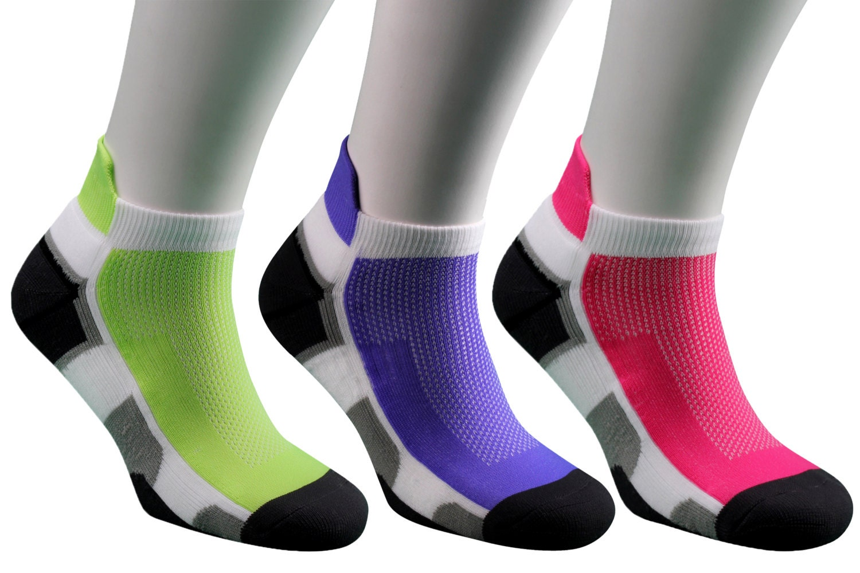 Samson Running Pink Green Purple Ankle Socks Sport Walking Athletic