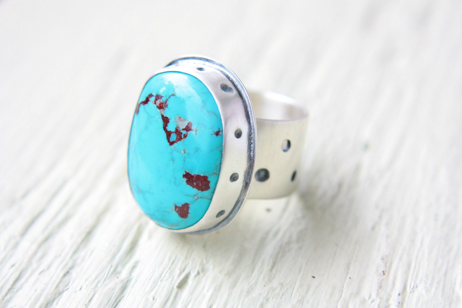 Hopi Warrior Turquoise Ring Sterling Silver Size 8 1/2  Boho Gipsy Bohemian Ring Silversmithed Metalsmithed - ManariDesign