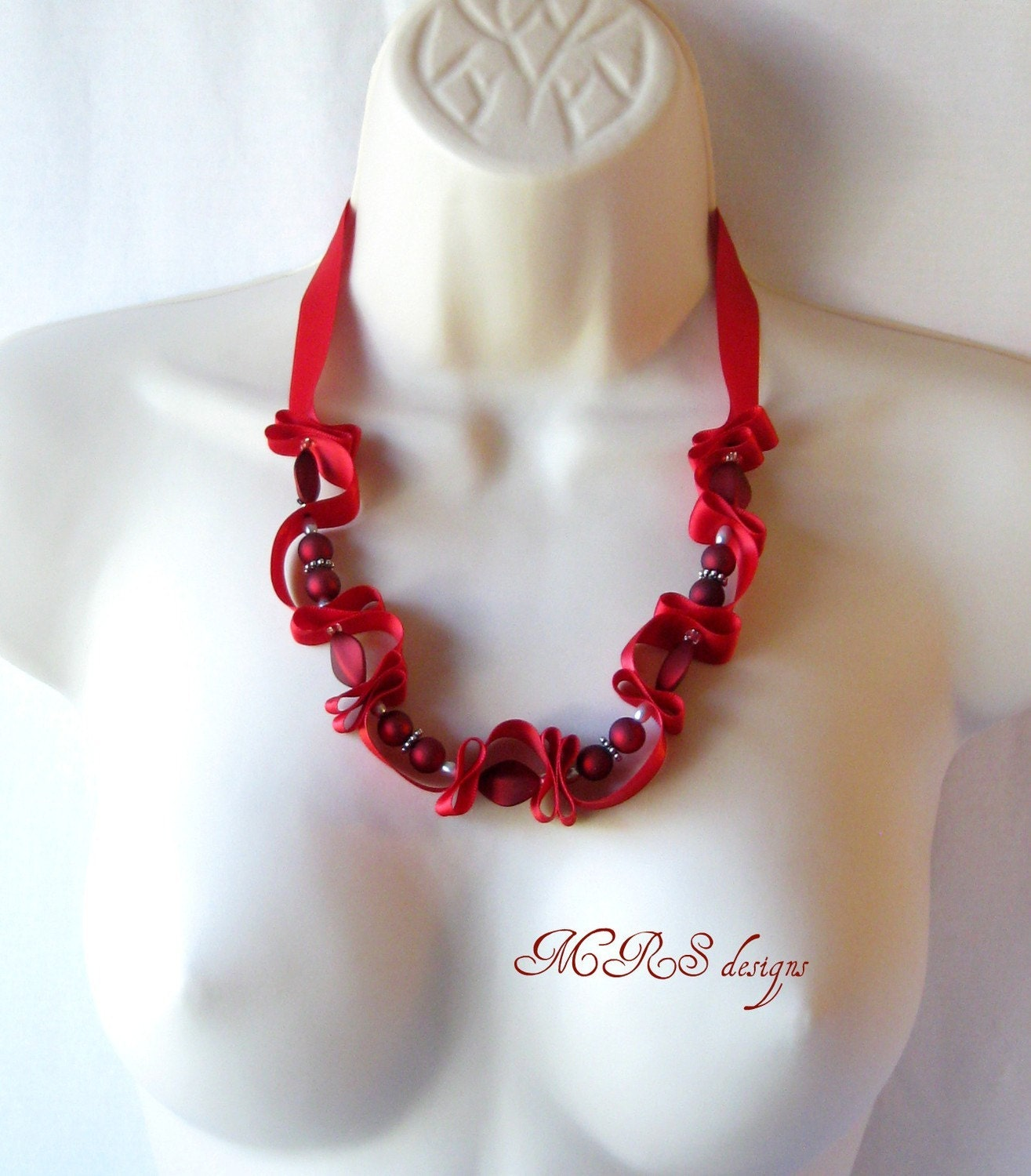 Ribbon and Bead Necklace in Red
