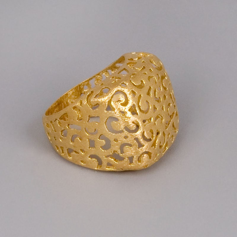 gold ring handmade 14k gold plated filigree by toolisjewelry
