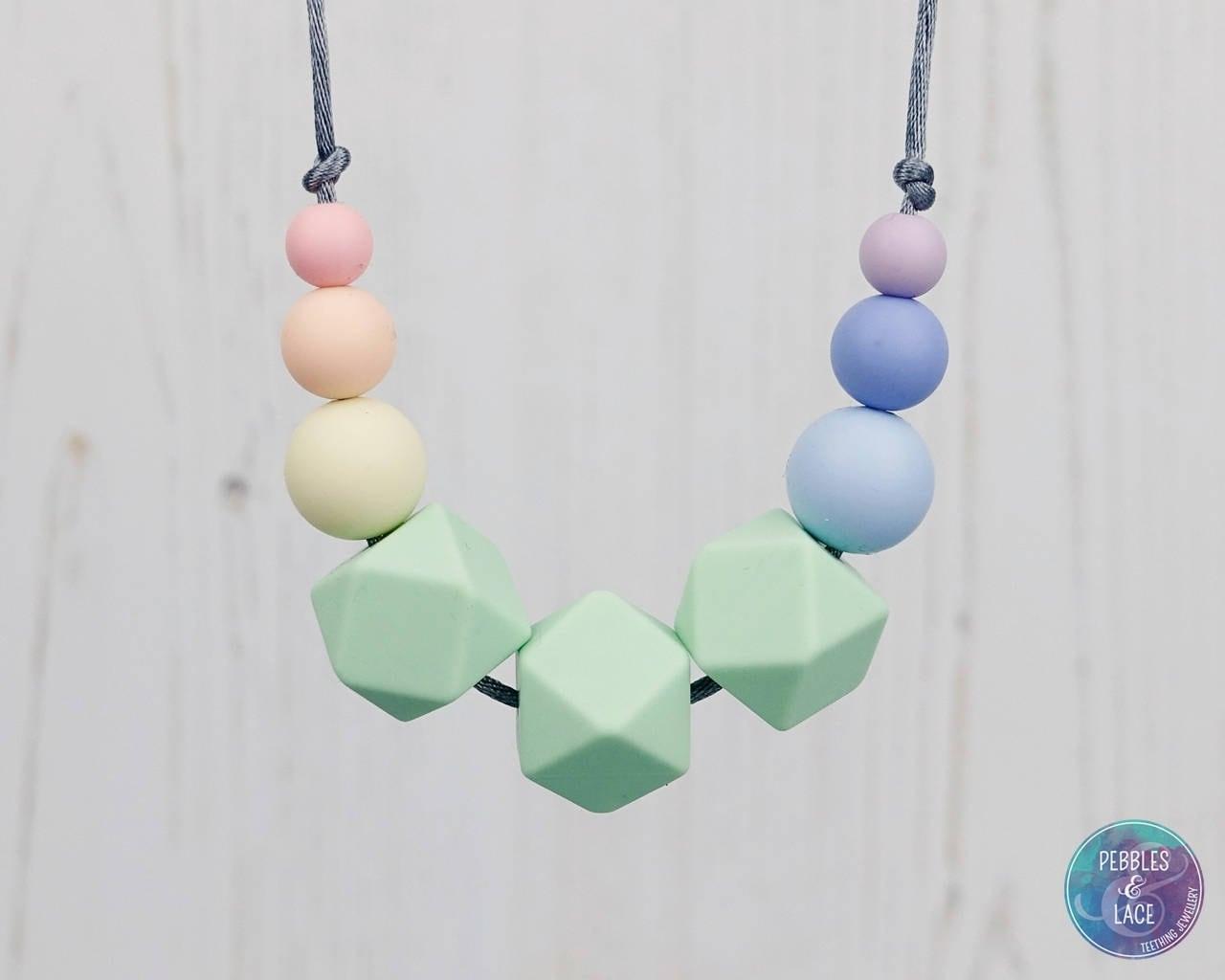 Sensory Silicone Necklace Teething Necklace Mum Jewellery Nursing Necklace Teething Jewellery Geometric Jewellery Pastel Rainbow
