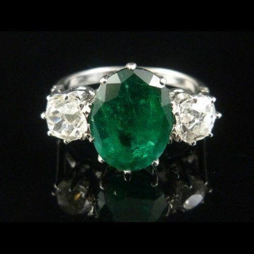 Antique Emerald Diamond Ring 18ct White Gold 4.50ct Emerald