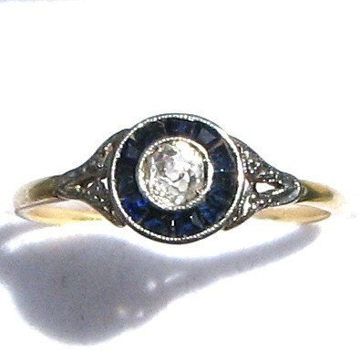SOMETHING OLD AND SOMETHING BLUE - A STUNNING Art Deco Sapphire and Diamond Bull's Eye Engagement Band or Right Hand Ring - FRENCH - 18 KARAT GOLD and PLATINUM - CIRCA 1930