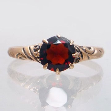 10K Rose Gold Antique Victorian Garnet Engagement Ring