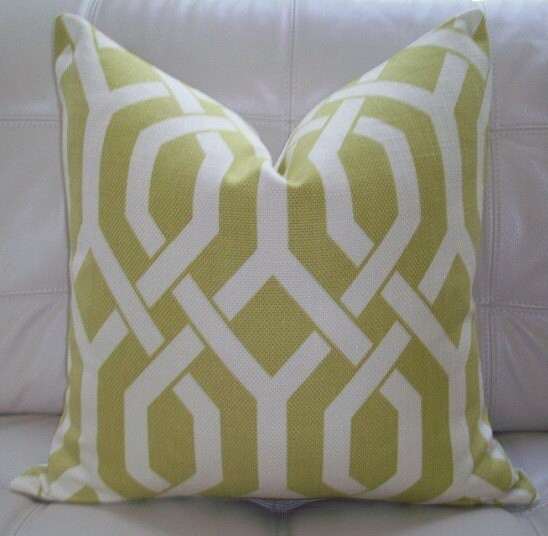 Decorative Designer pillow cover- 18X18 - Kaufmann Gatework Pattern in Chartreuse