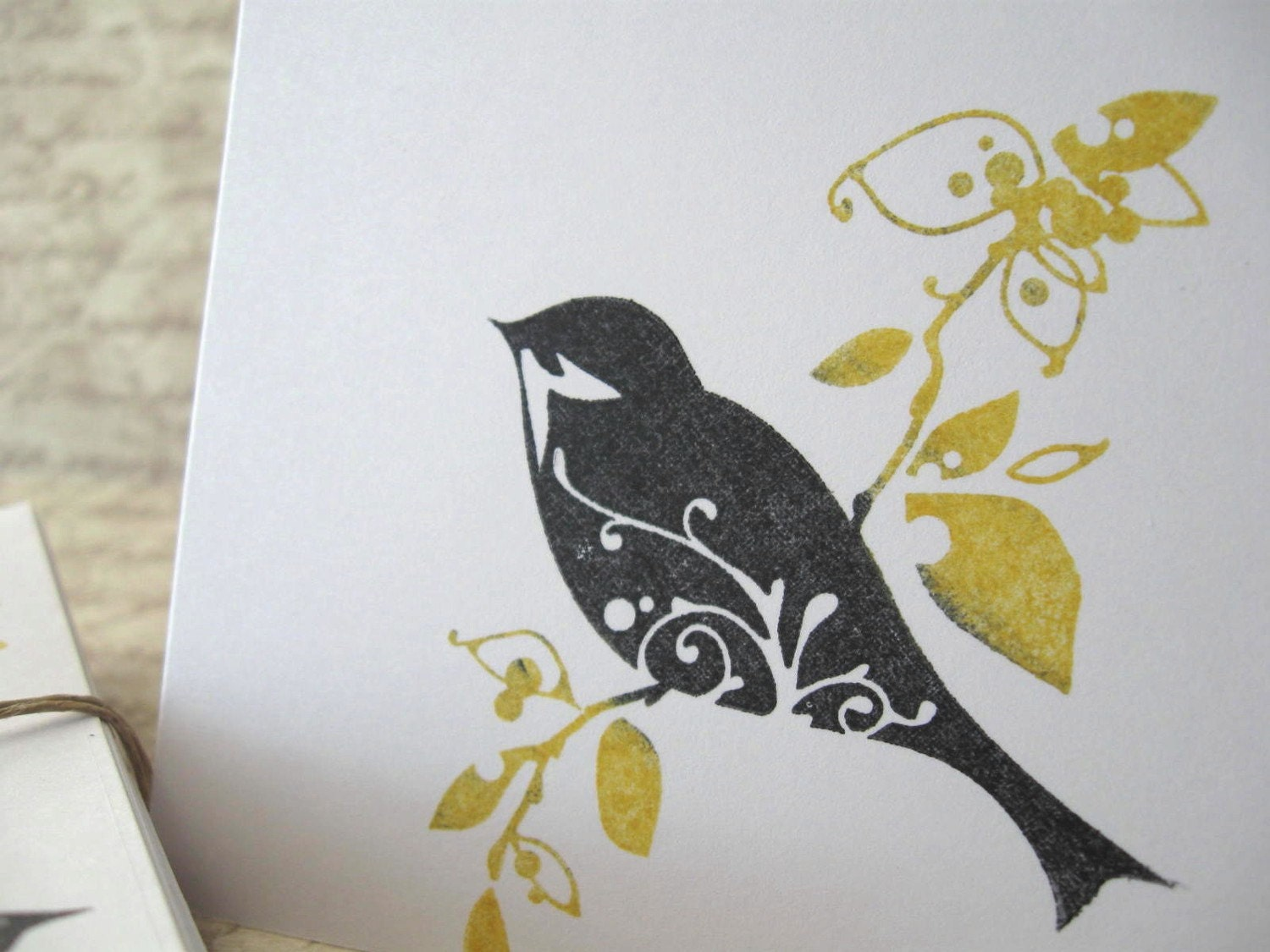 BIRD on Branch Mini Note Card Set of 5 Black & Yellow