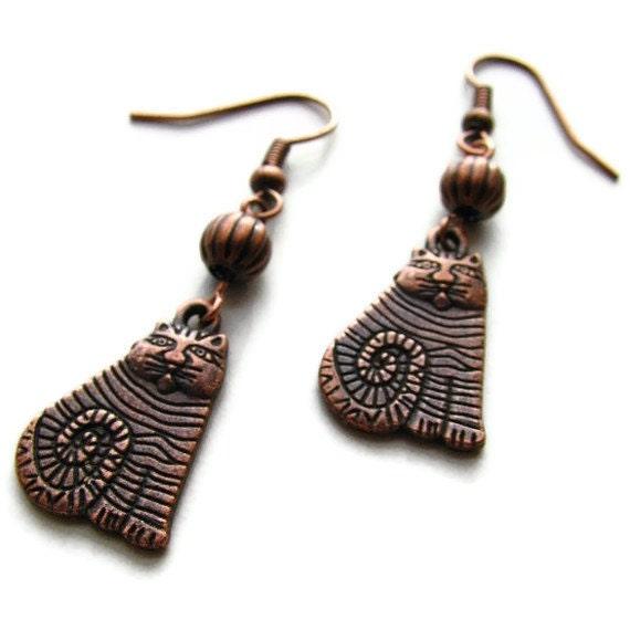 Cat's Meow Earrings in Copper or Brass Charms - heversonart