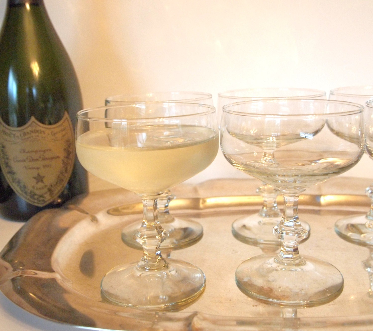 Vintage Crystal Champagne Coupe Glasses Set of 6 - HouseofLucien