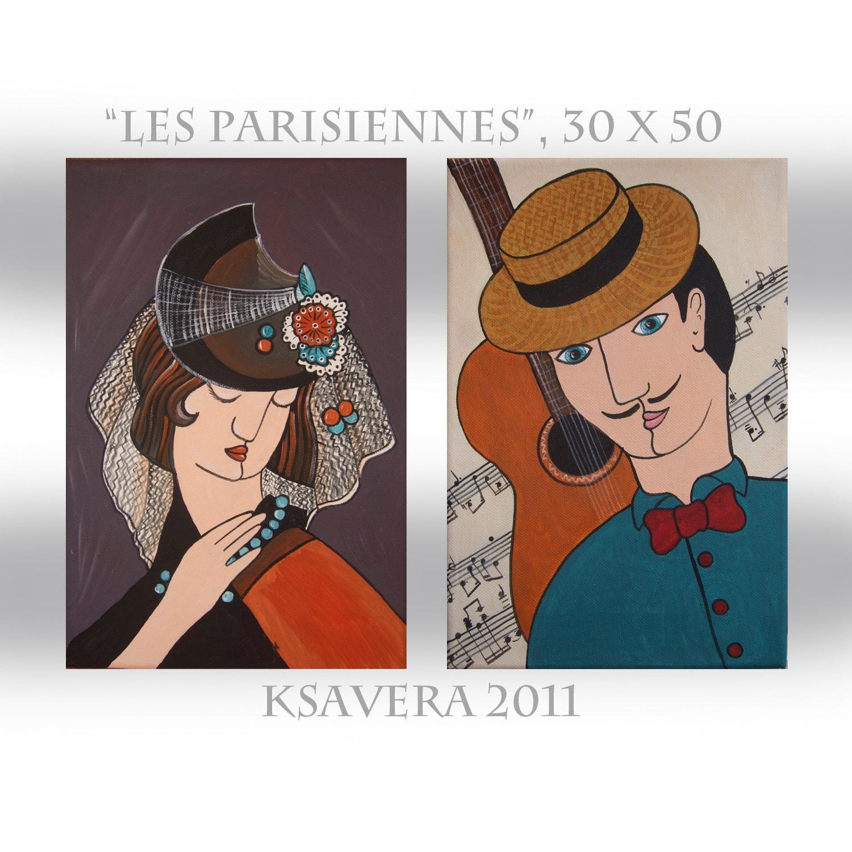 """Original portrait Painting Parisian Family Cubism Guitar KSAVERA """"Parisians"""" 12x20 Musik Gentleman Lady Art Nouveau Popart Contemporary - KsaveraART"""