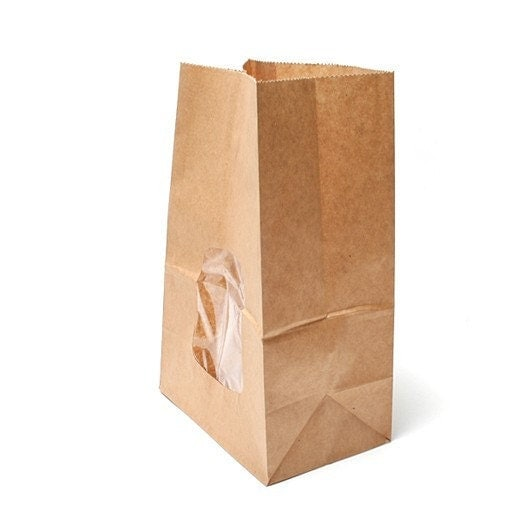 natural paper bags with Window - Large (10 sheets)