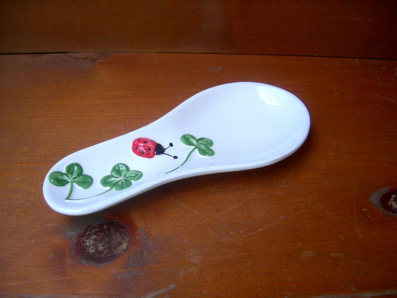 Vintage cerahmic spoon holder ladybug - Artcapades