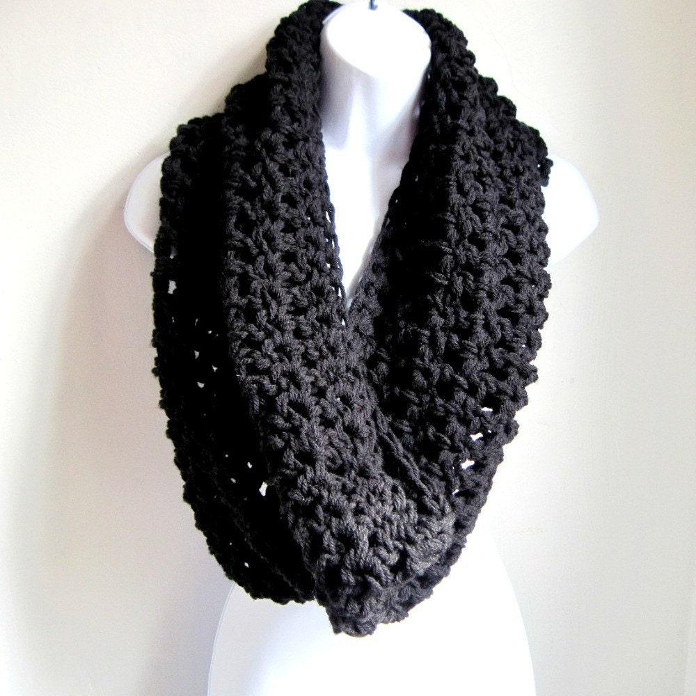 "Black Infinity Scarf Cowl-  Extra Large Chunky Infinity Scarf ""BOGO""  ""Buy one get one 50% off lowest price"""