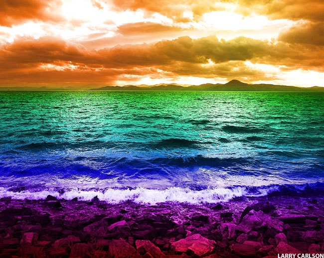 Items Similar To Ocean Beach Rainbow Art Photograph