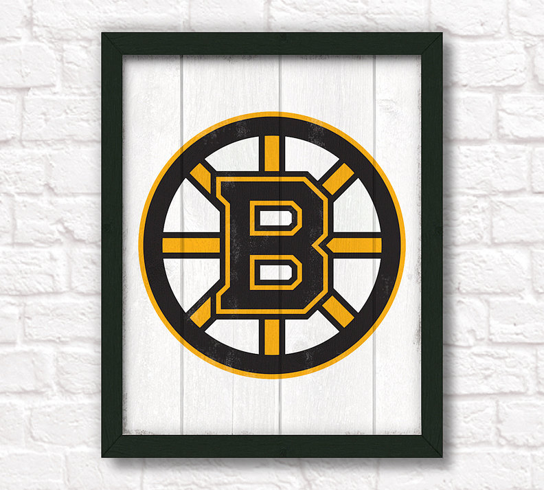 Boston bruins rustic home decor handmade sign by Bruins room decor
