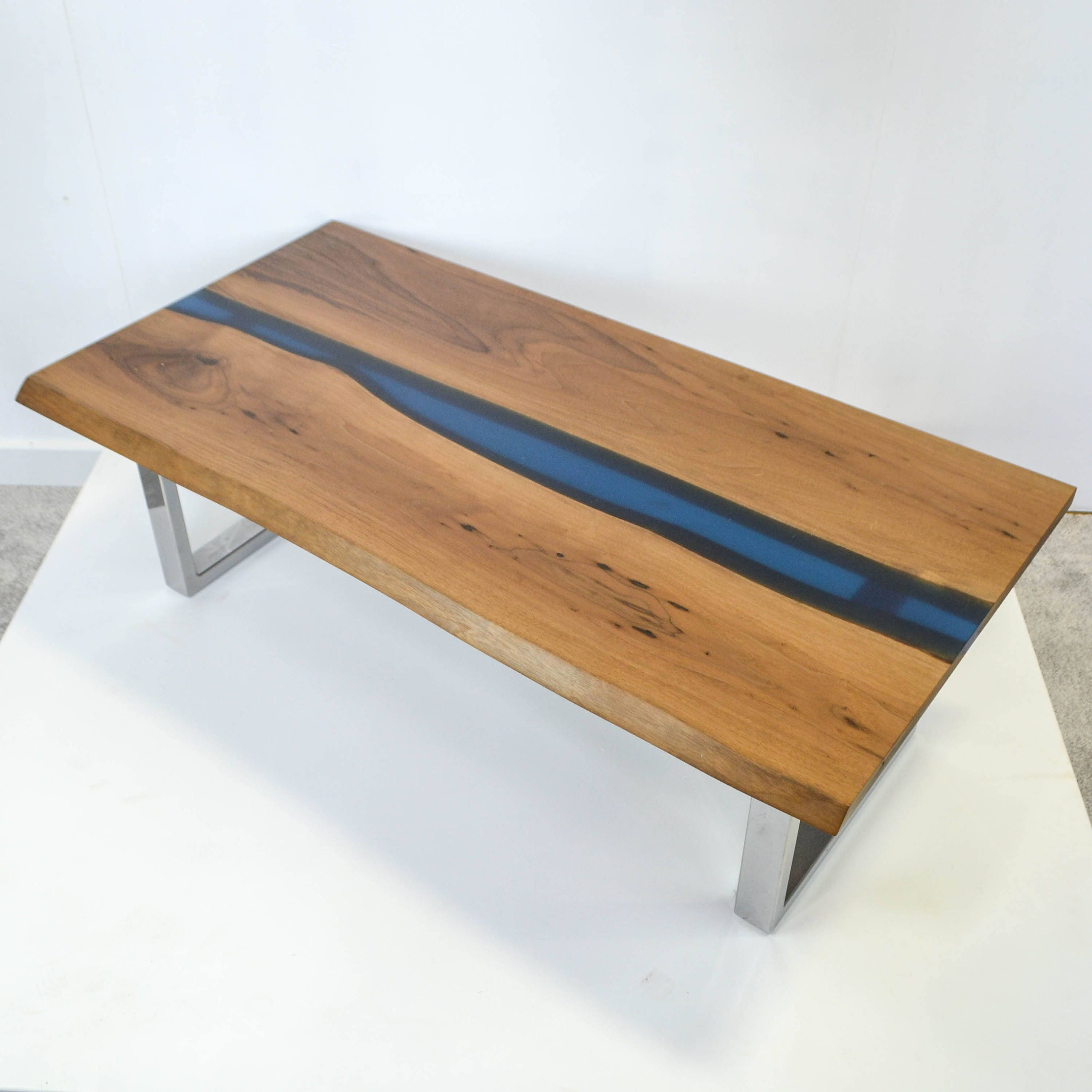 Resin River Coffee table  SAMPLE SALE Natural live edge Walnut slab and chrome steel base table