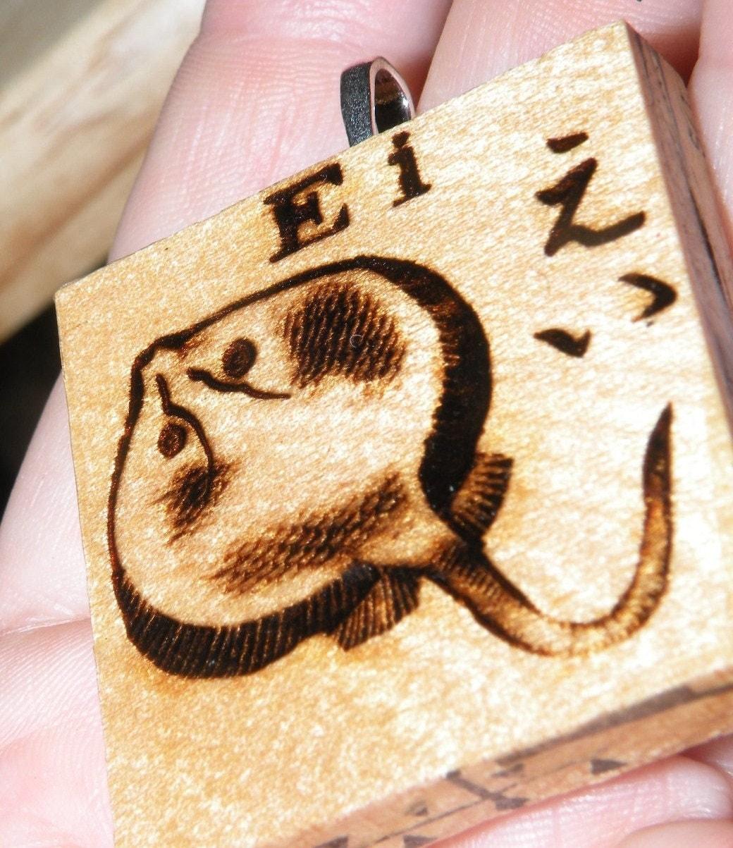 STINGRAY MANTA RAY PENDANT - Vintage Japanese Game Tile upcycled wood art