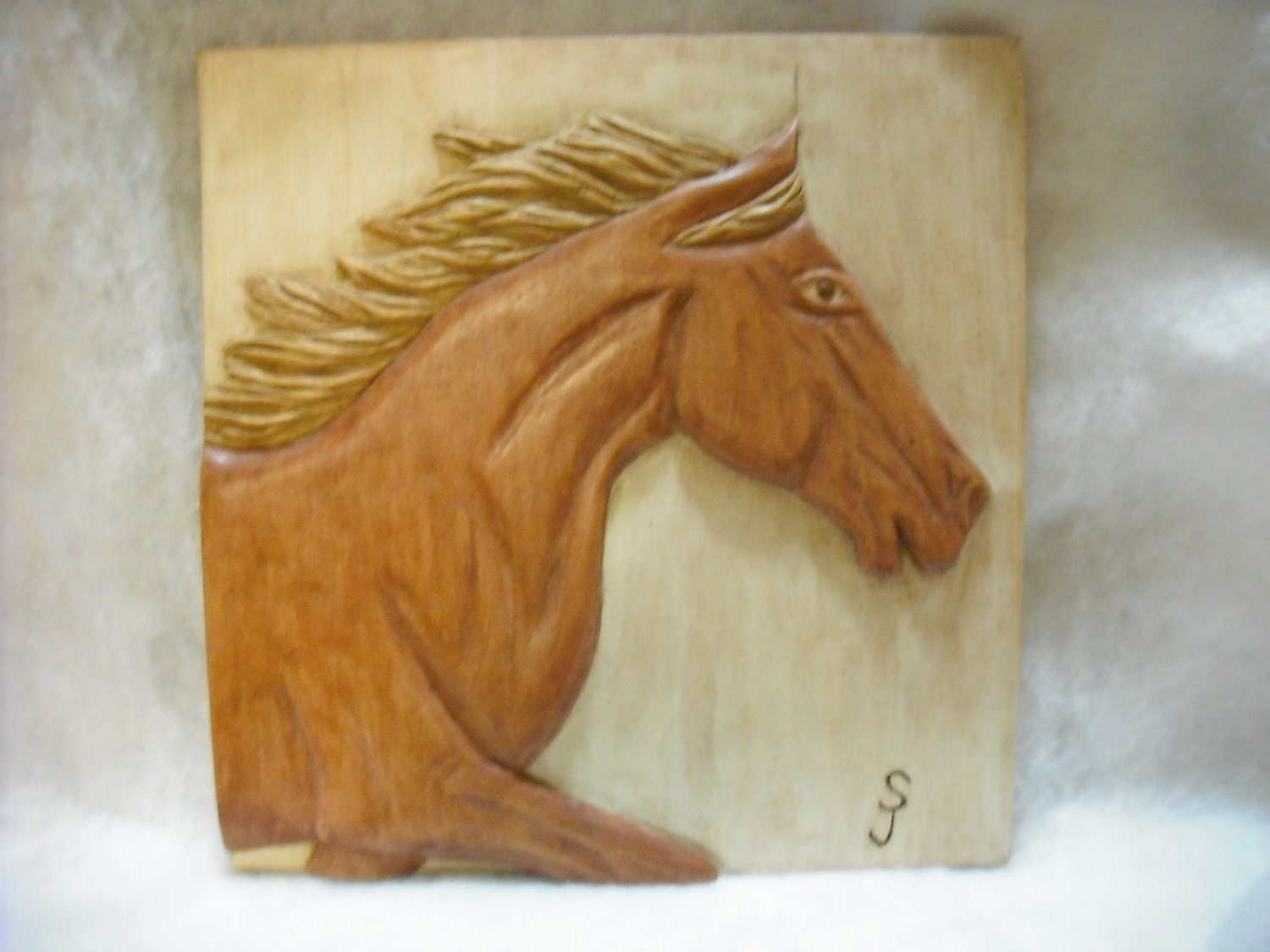 Hand carved horse one of a kind relief carving by