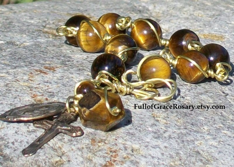 St. Joseph Catholic Rosary Bracelet, Unbreakable, Wire Wrapped, Tiger eye, Golden Color