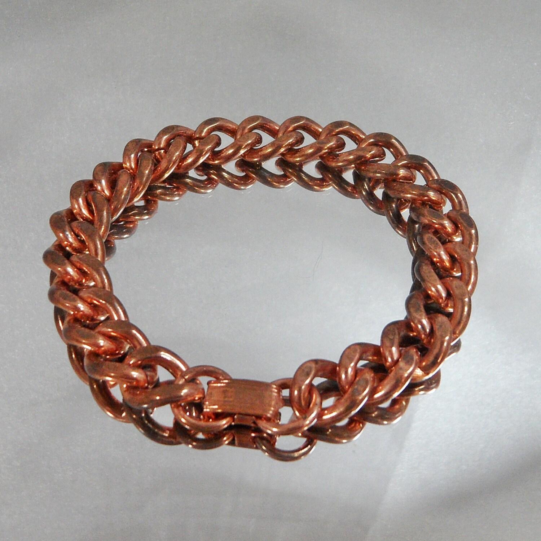 vintage copper bracelet large curb link solid copper by