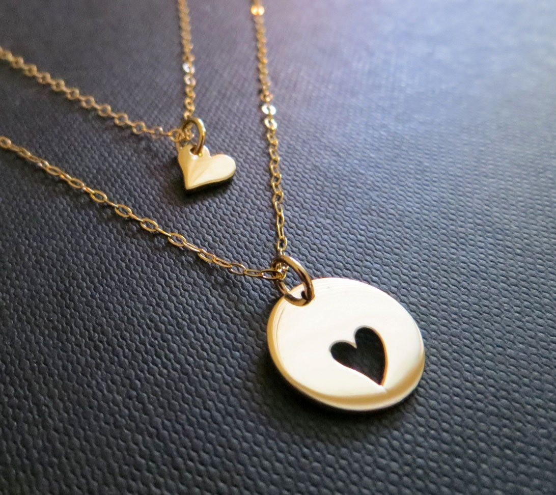 mother daughter necklace two gold heart necklaces by. Black Bedroom Furniture Sets. Home Design Ideas