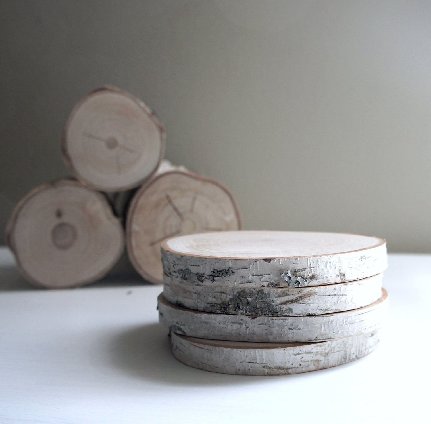 natural white birch wood coaster - set of 4 - urbanplusforest