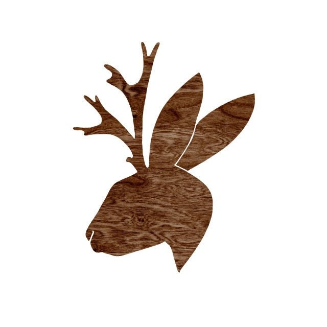 Dark Brown Woodgrain Faux Bois Jackalope Head Silhouette Art Print  -  8 x 10 Home Decor Wall Art - You Don't Know Jack - blockpartyprints
