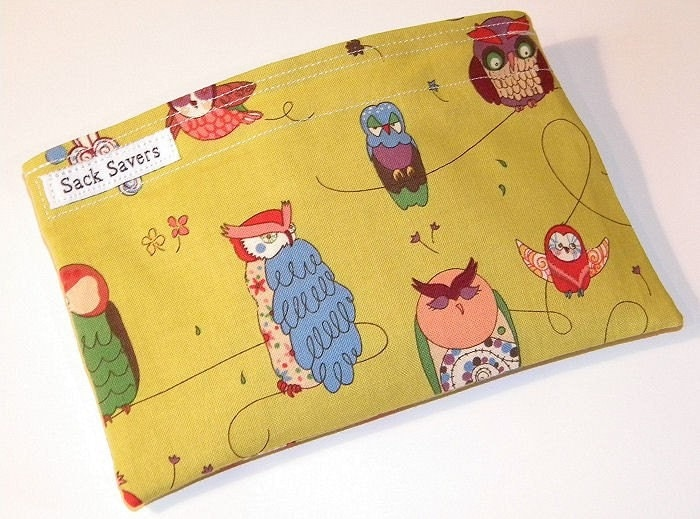 Green Spotted Owl Eco Friendly Reusable Handmade Snack Bag