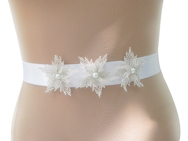 Elegant Sash  with Hand Beaded Flowers by nezoshop on Etsy from etsy.com