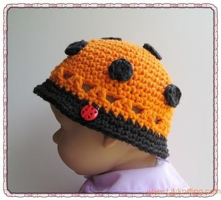 PATTERN Crocheted baby ladybug cloche in the size of 0 - 3 months and 3 - 6 months -- Ladybug cloche