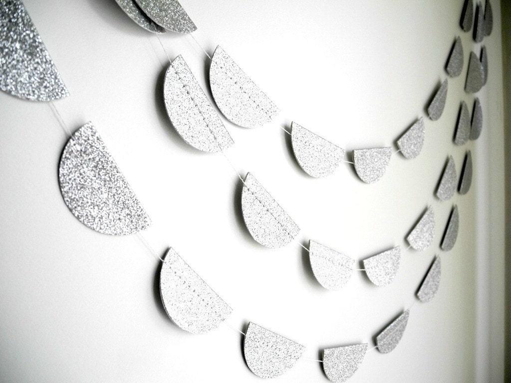 Silver Glitter Garland, Silver wedding decoration, Silver Glitter party garland,Silver baby shower decor - HoopsyDaisies