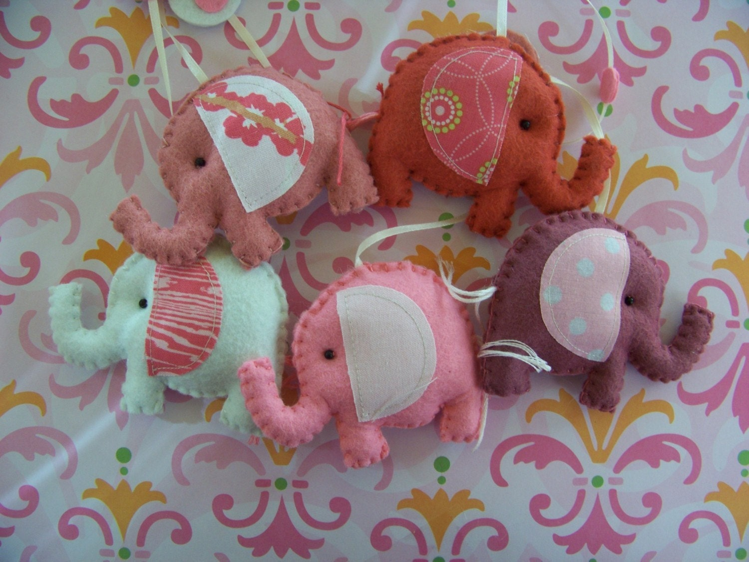 Elephants Parade, Decorative Nursery Mobile. (choose your colors)