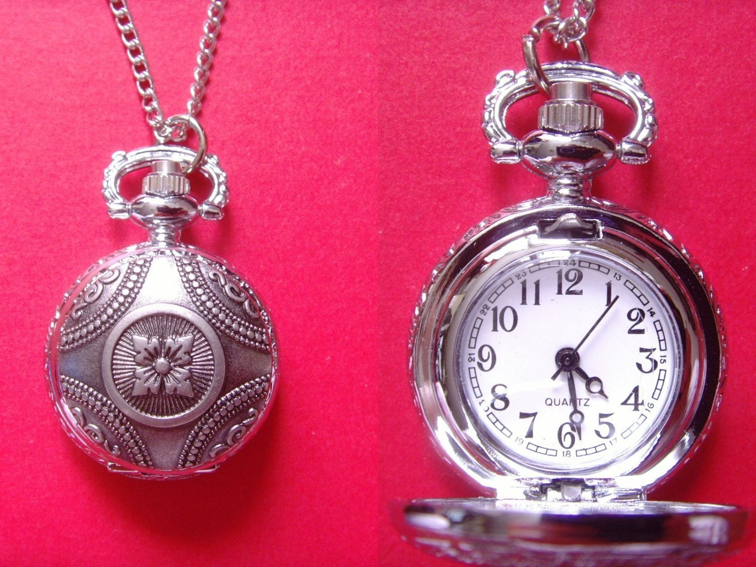 vintage style floral flower cover quartz movement pocket watch with gift box