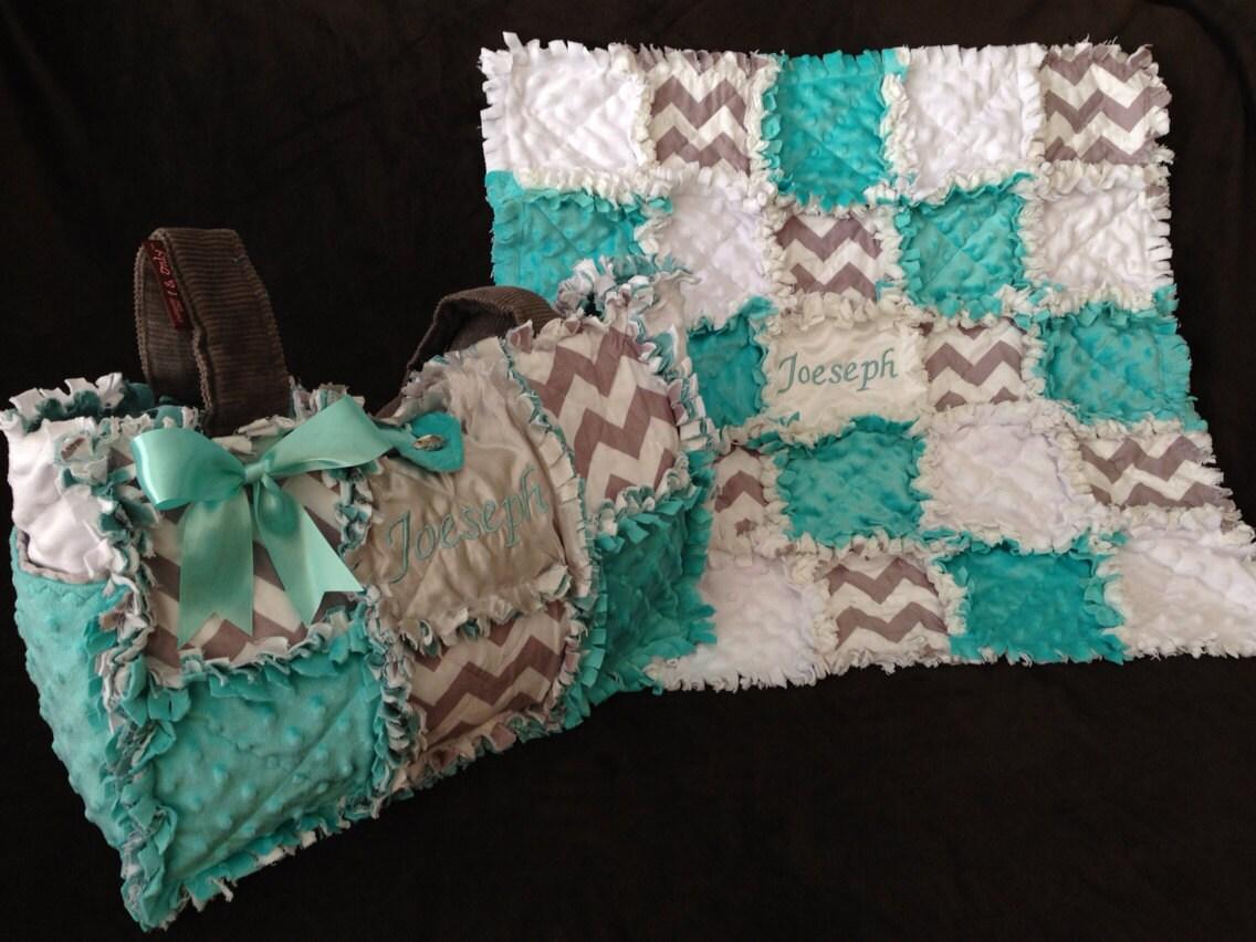 Custom made rag quilt diaper bag and quilt by calchicbyjacquiek