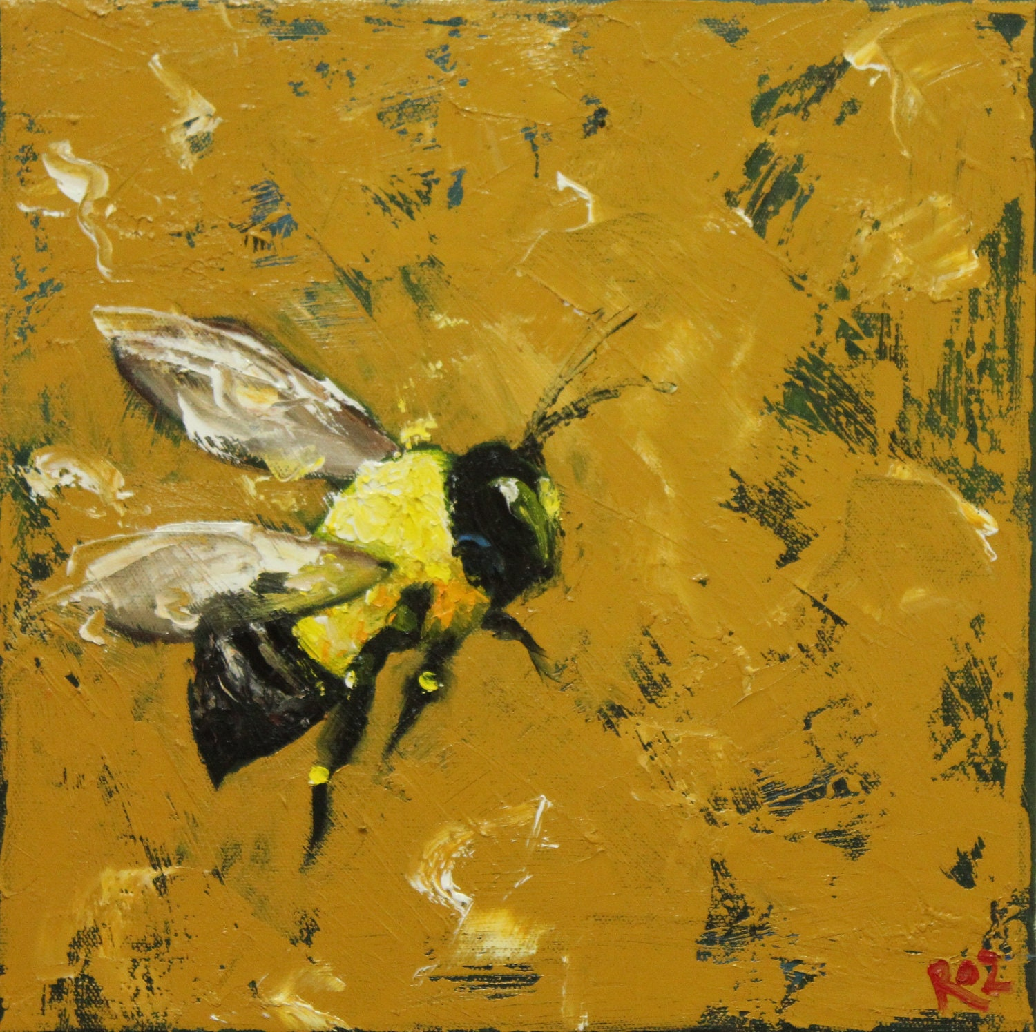 Print Bee 223 20x20 inch Print from oil painting by Roz - RozArt