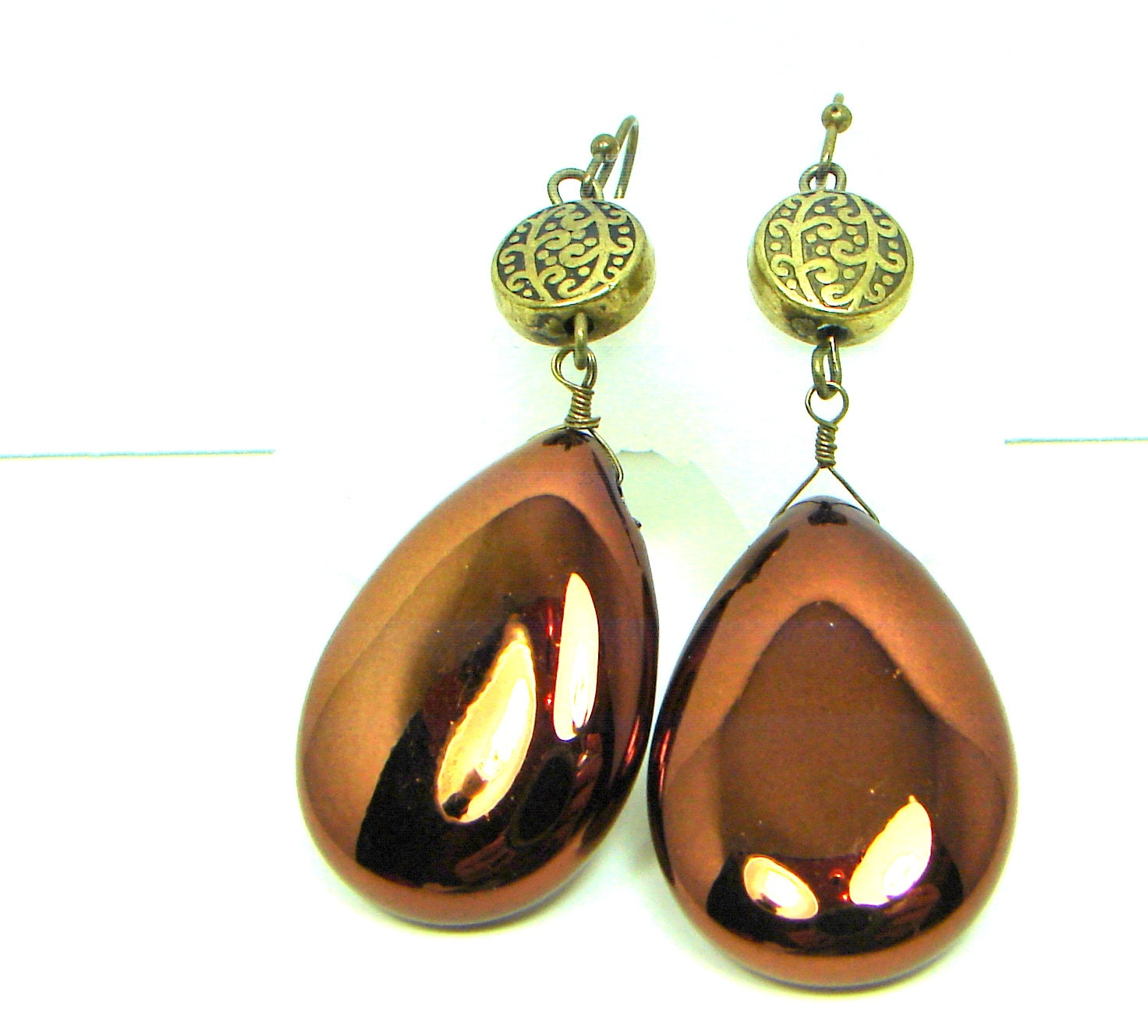 Copper Gold Earrings, Teardrop Earrings, Bronze Earrings, Large, Lightweight - jillsgems1