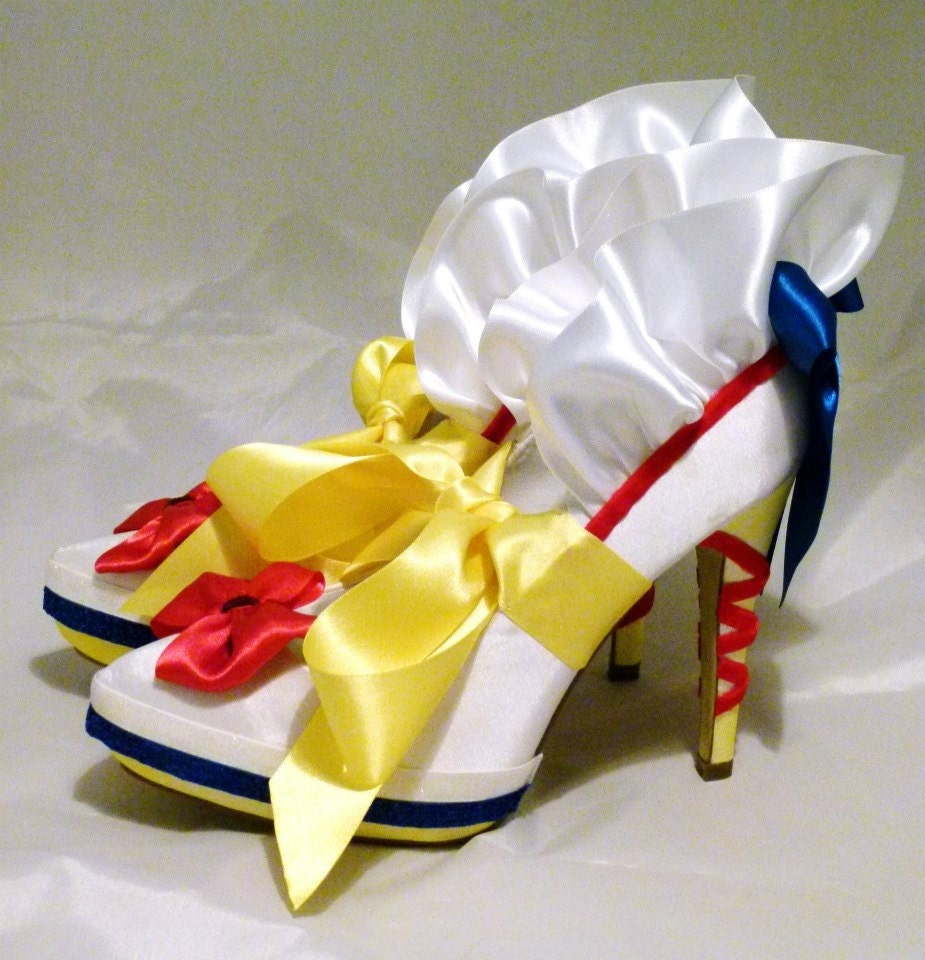 White Satin Bridal Shoes Disney Snow White Inspired Design  Wedding Bridesmaid Bride