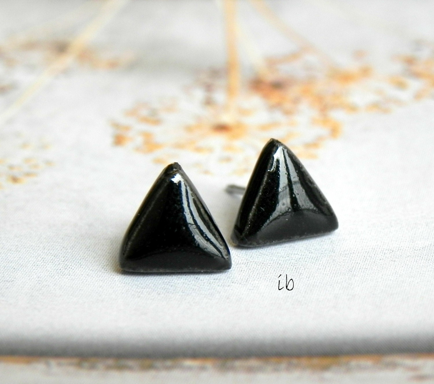 Black Porcelain Earrings Stud Tiny Ceramic Post Geometric Earrings Hypoallergenic Men Earrings - LemoneRouge